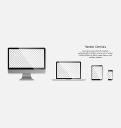 electronic gadgets realistic computer monitor vector image
