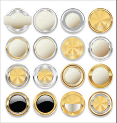 Empty gold and silver labels collection 01 vector