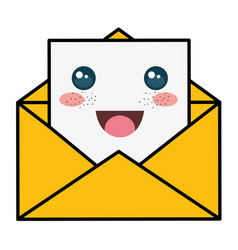 envelope mail kawaii character vector image