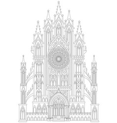 Fantasy drawing medieval gothic castle black vector