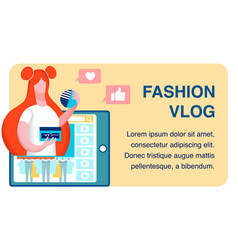 fashion advice vlog flat banner template vector image