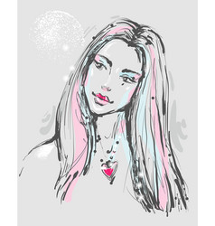Fashion portrait of a young atractive woman with vector
