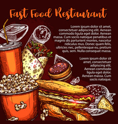 Fast food restaurant menu cover with lunch dish vector