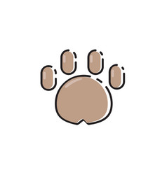 Flat color dog paw icon vector