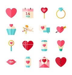 Flat Happy Valentine Day Objects Set isolated over vector image