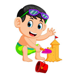 funny boy making a big sandcastle at beach vector image