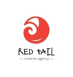Funny minimalistic fox tail logo vector