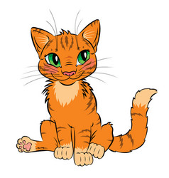 funny red cat with green eyes vector image