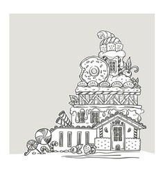 Gingerbread house lovely cartoon castle made vector