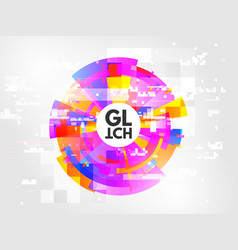 glitch circle abstract design element with vector image