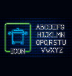 Glowing neon cooking pot icon isolated on brick vector