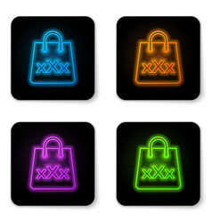 Glowing neon shopping bag with a triple x icon vector
