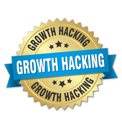Growth hacking round isolated gold badge vector