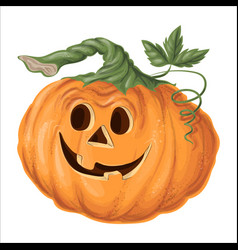 halloween pumpkin with happy face on white vector image