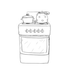 Hand drawn sketch of kitchen stove vector
