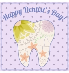 Happy dentist day card with tooth silhouette vector