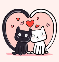 happy valentines day with couple cats black and vector image