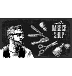 Hipster shave haircut in barbershop vector