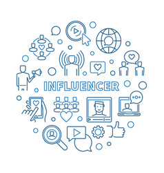 influencer round concept outline vector image