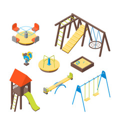 kid playground elements 3d icons set isometric vector image