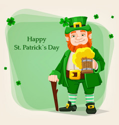 leprechaun happy saint patricks day vector image