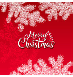 merry christmas text on a red background vector image