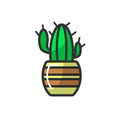 mexican cactus in striped pot isolated on white vector image