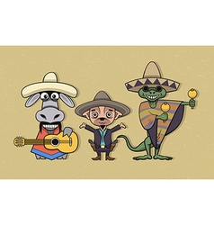 Mexican cartoon characters vector