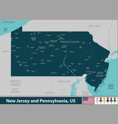 new jersey and pennsylvania united states vector image