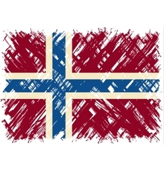 Norwegian grunge flag vector image