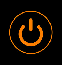 on off switch sign orange icon on black vector image
