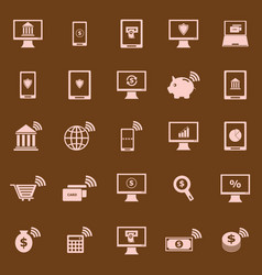 Online banking color icons on brown background vector