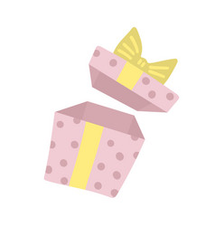 opened surprise gift box with ribbon bow open vector image