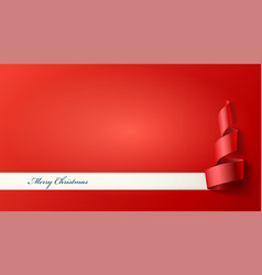 paper banner with christmas tree cut sheet vector image