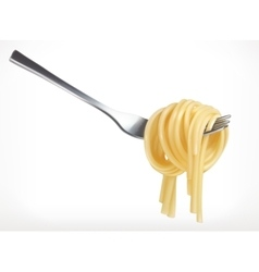 Pasta on fork icon vector