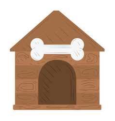 pet wooden house with bone white background vector image