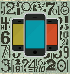 Retro Phones and Numbers vector