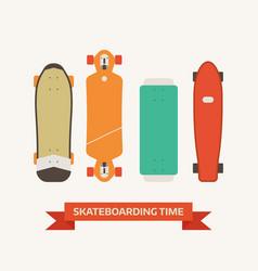 Retro skateboard decks icons vector