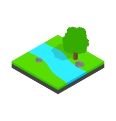 River landscape icon isometric 3d style vector