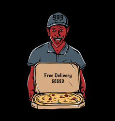 satan holding open cardboard box pizza vector image