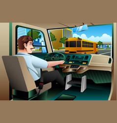 School bus driver driving a bus vector