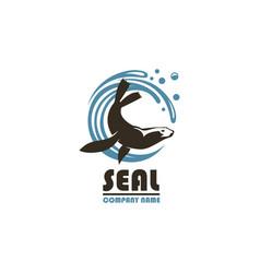 sea seal emblem vector image