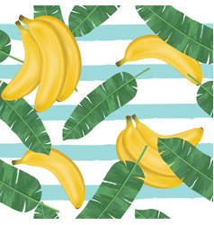 seamless pattern bananas with banana leaves vector image