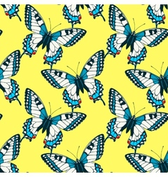 Seamless pattern with colorful machaon swallowtail vector image