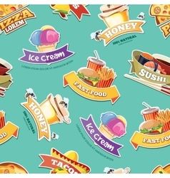 seamless pattern with emblems of food vector image