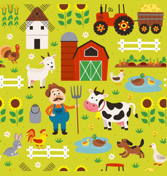 seamless pattern with farmer and farm animals vector image