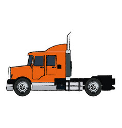 Semi trailer truck transportation isolated on vector