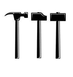 Set blacksmith hammers design element vector