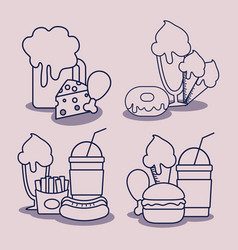 set delicious fast food character vector image
