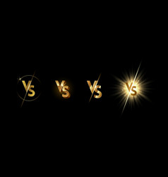 set golden shining versus logo vector image